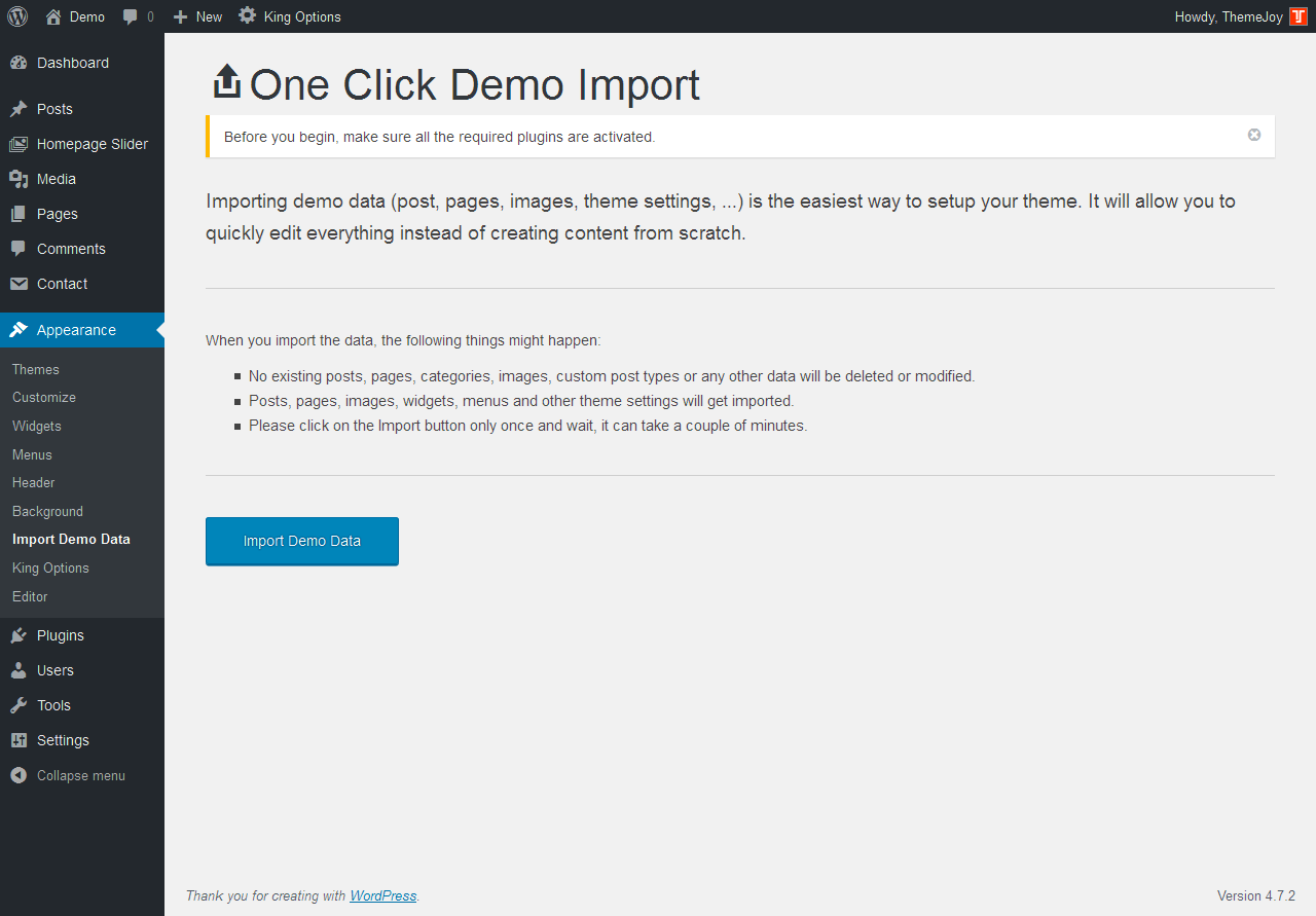 1 Click Demo Import